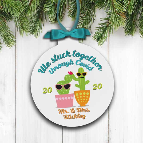 Christmas 2020 couples we stuck together through covid personalized holiday ornament