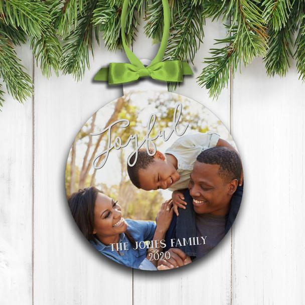 Joyful Christmas personalized family photo holiday ornament