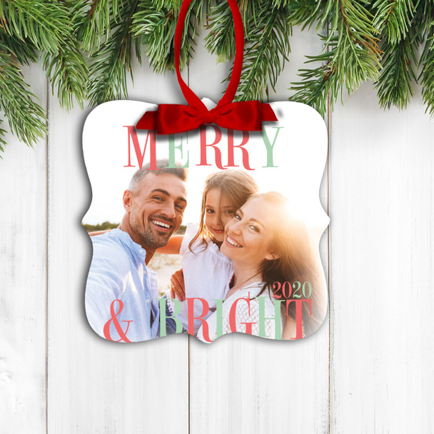 Merry & Bright family photo christmas ornament
