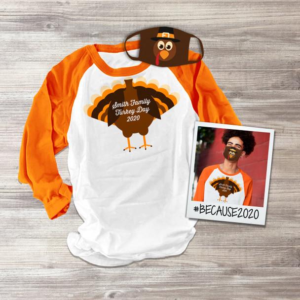 Thanksgiving family turkey unisex raglan shirt with matching turkey face mask