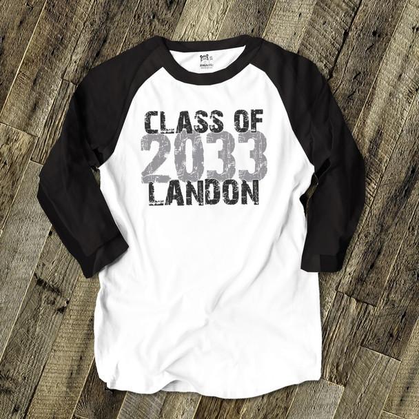 Back to school class of any year through the years from kindergarten to high school custom raglan shirt