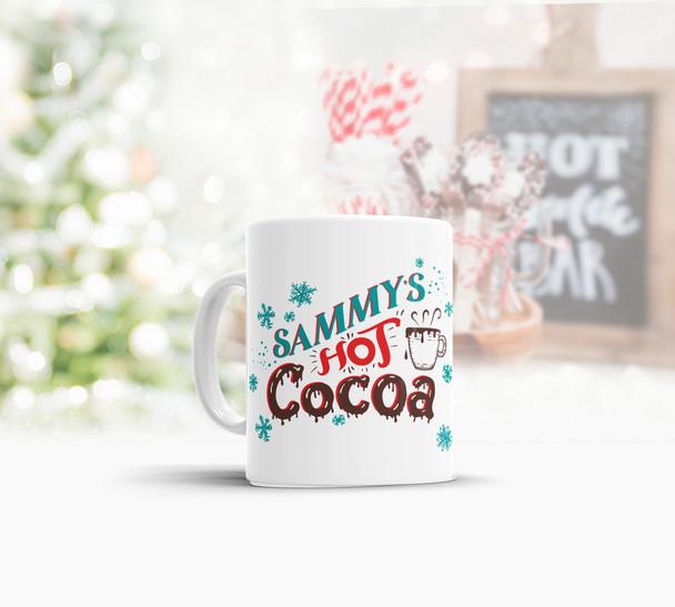 Snowflakes hot cocoa personalized mug