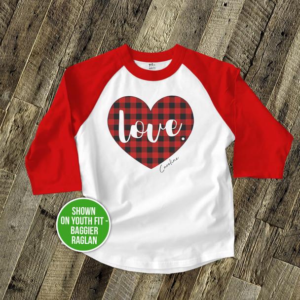 Valentine love red buffalo plaid heart kids raglan shirt