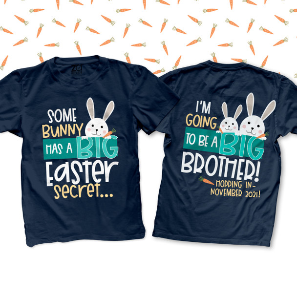 Easter big brother to be bunny secret pregnancy announcement DARK Tshirt