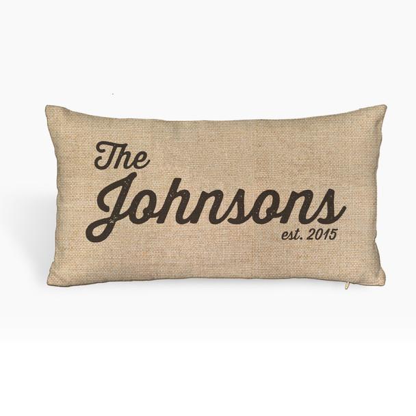 Family name personalized faux burlap lumbar throw pillowcase pillow