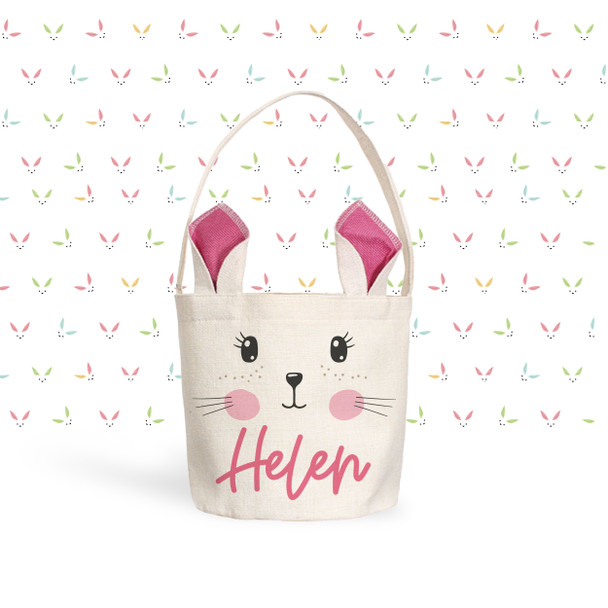 Easter basket pink bunny ears open eyes personalized easter bunny bag