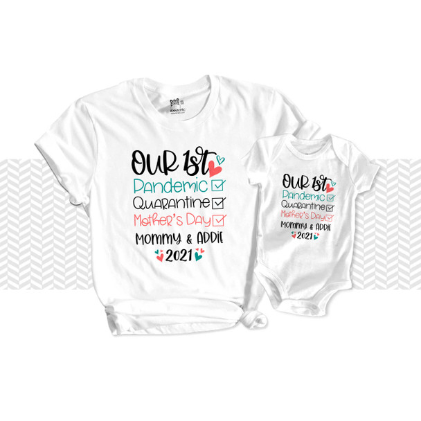1st Mother's Day pandemic quarantine checklist mommy baby matching shirt and bodysuit gift set