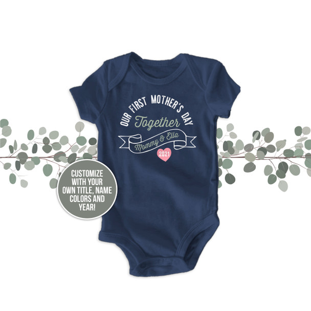 Our First Mother's Day Together mommy baby DARK bodysuit