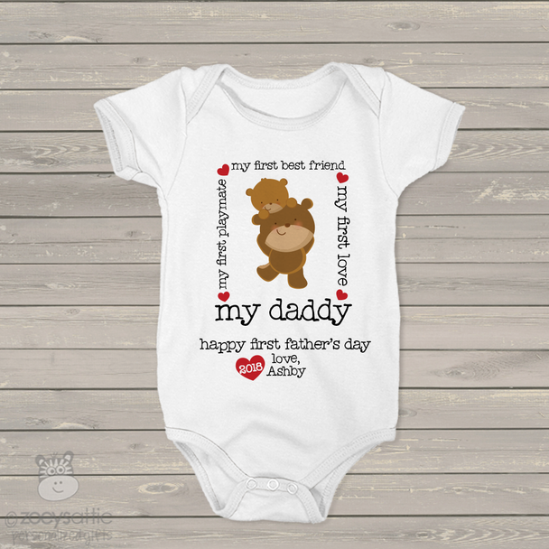Father's Day bodysuit my first best friend my daddy personalized bodysuit or Tshirt