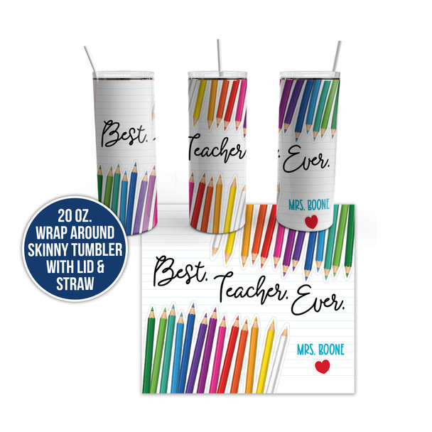 Best teacher ever stainless steel 20oz personalized skinny tumbler
