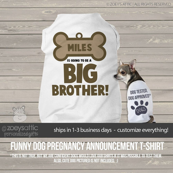 Dog shirt big brother to be dog bone pregnancy announcement personalized dog Tshirt