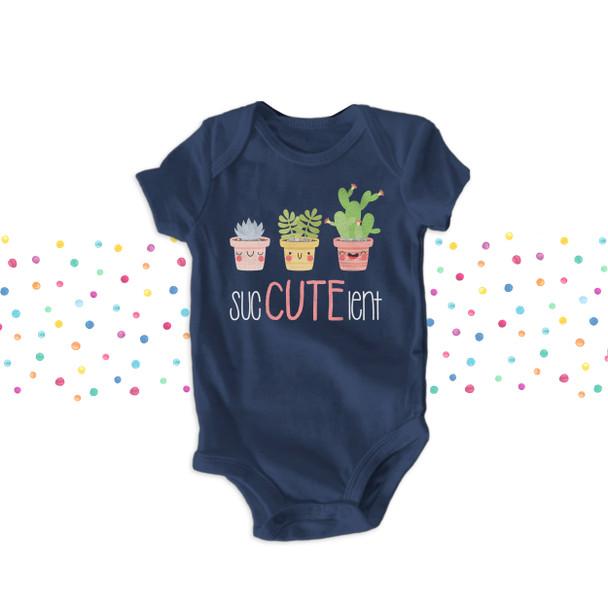 Funny cute sucCUTElent yucca cactus girls DARK bodysuit or Tshirt
