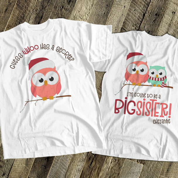 Christmas shirt big sister to be Christmas owl secret pregnancy announcement  Tshirt