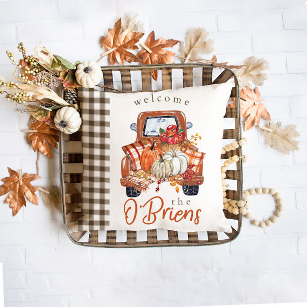 Welcome vintage pickup truck with pumpkins personalized throw pillowcase pillow