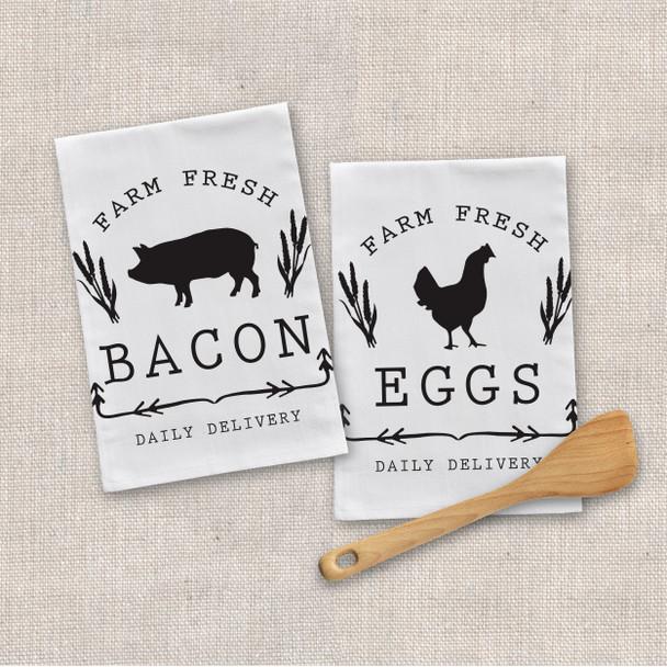 Farm fresh bacon eggs tea towel set of two
