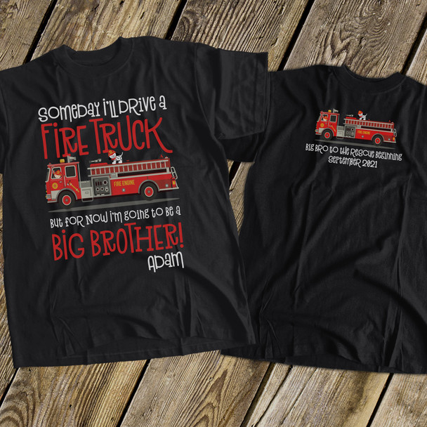 Big brother to be shirt fire truck pregnancy announcement DARK Tshirt
