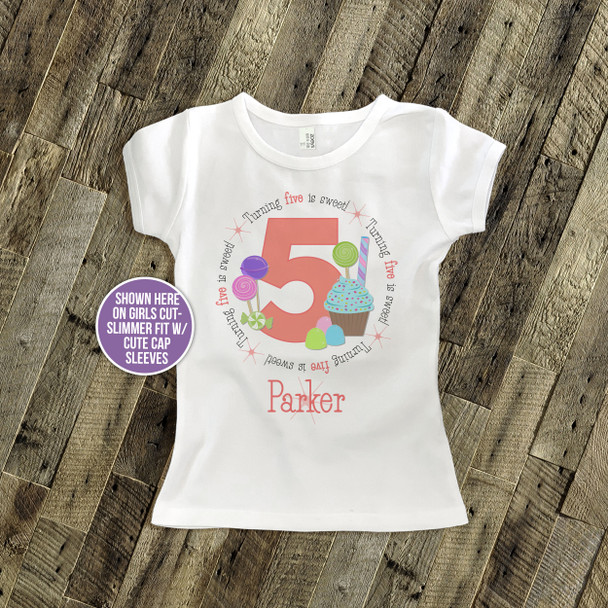 Birthday shirt lollipop and cupcake girl birthday sweets personalized Tshirt
