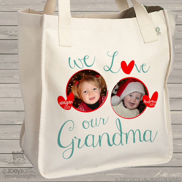 Grandma tote we love grandma (or grandpa) personalized photo tote bag