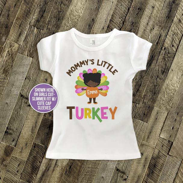 Thanksgiving shirt mommy's little turkey girl personalized Tshirt