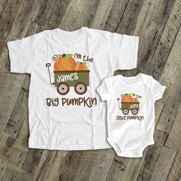 Fall sibling set brother or sister pumpkin matching Tshirts