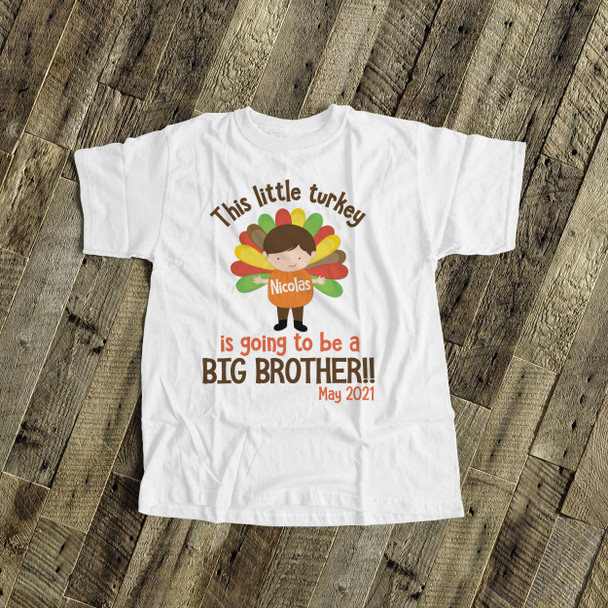 Big brother to be shirt little turkey pregnancy announcement Tshirt