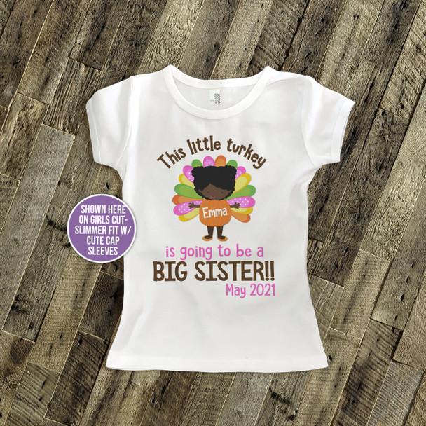 Big sister to be shirt little turkey pregnancy announcement Tshirt