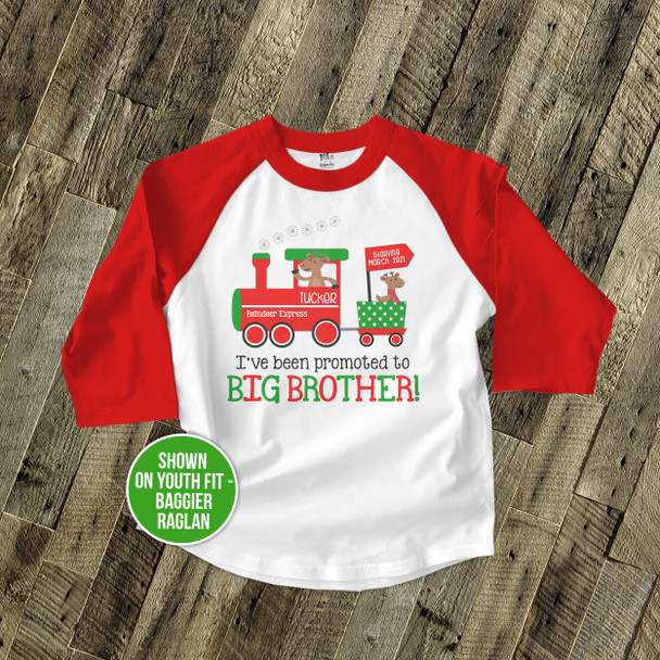 Christmas shirt big brother to be reindeer express pregnancy announcement raglan Tshirt