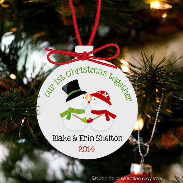 Holiday ornament snowman couple's first Christmas together personalized ornament