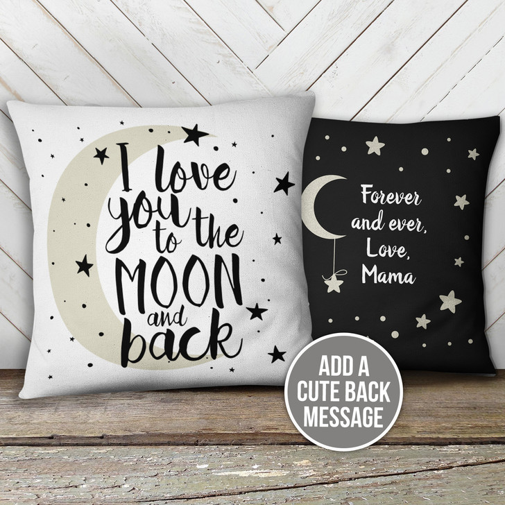 i love you to the moon and back custom throw pillow with pillowcase