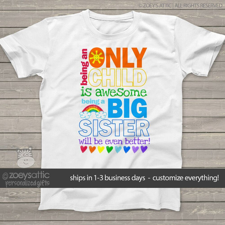 afa2521a15 Big sister to be shirt awesome only child pregnancy announcement Tshirt ...