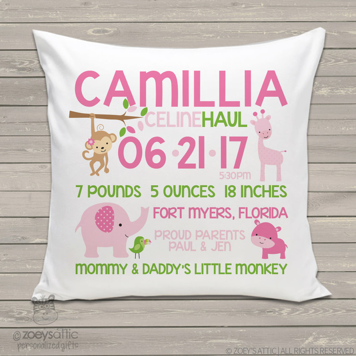 Birth announcement pillow GIRL jungle animals custom throw pillow with pillowcase