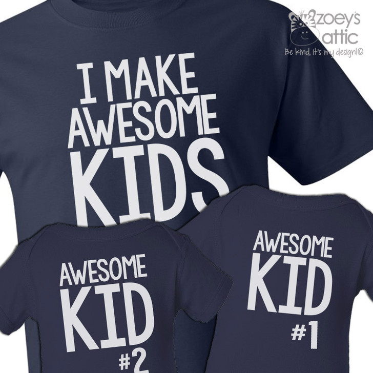 I make awesome kids dad and awesome kids matching t-shirts custom gift set of THREE DARK shirts
