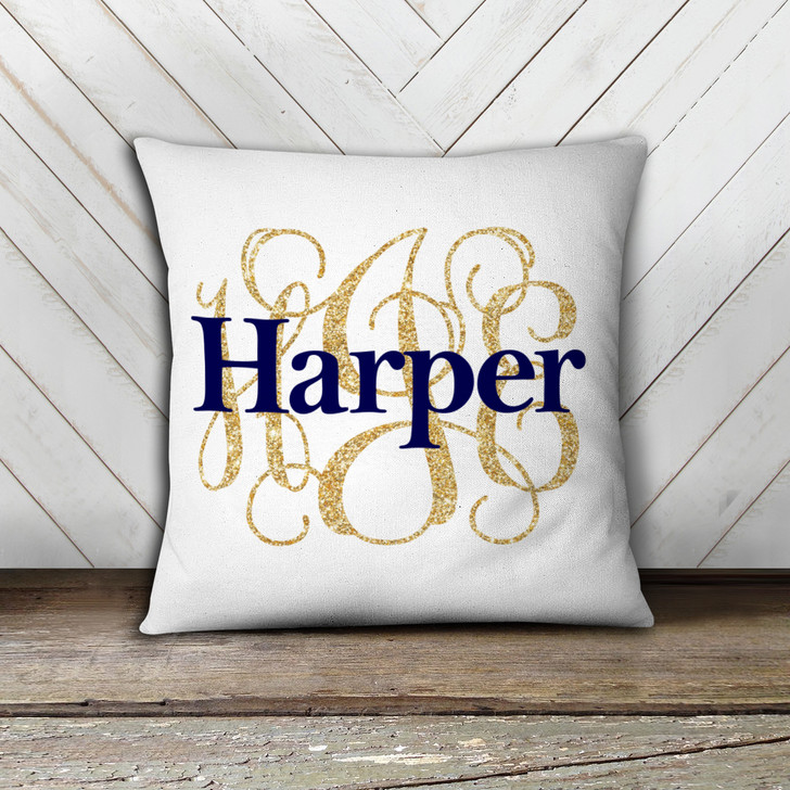 Girls monogram with name custom throw pillow with pillowcase