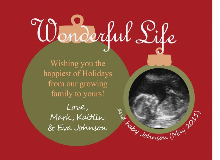 Ultrasound pregnancy announcement Christmas card