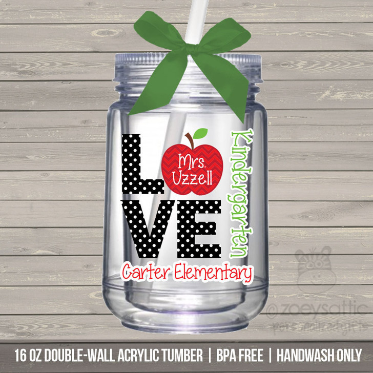 Love school mason jar tumbler