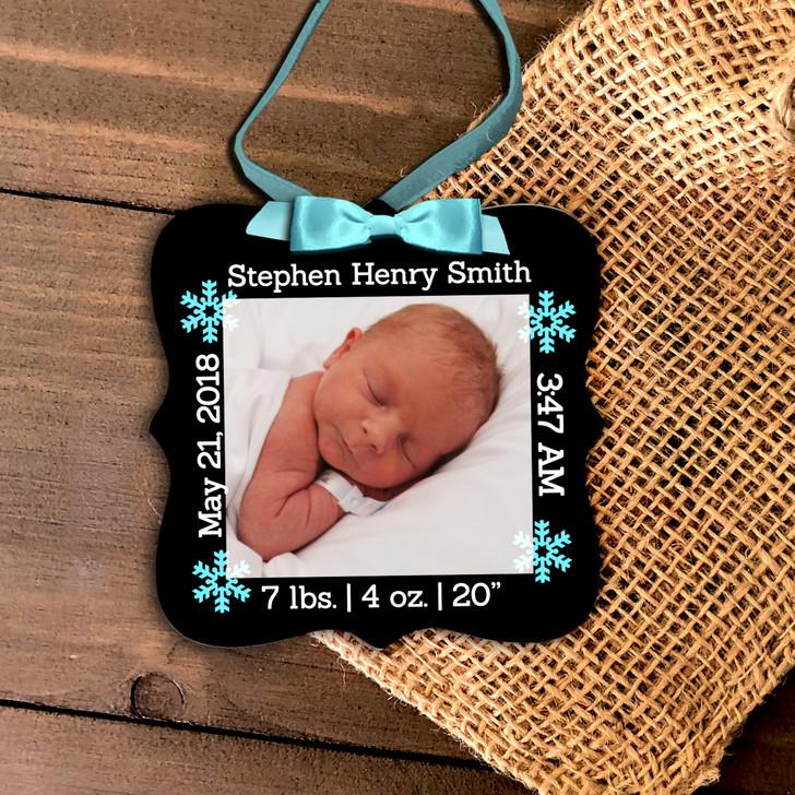 First Christmas birth statistics photo ornament