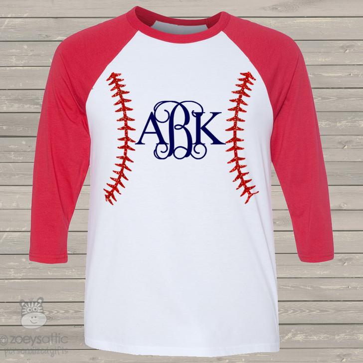 baseball monogram 3/4 length raglan sleeve shirt