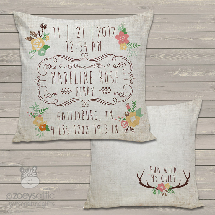 Rustic flower birth announcement pillow with back pattern