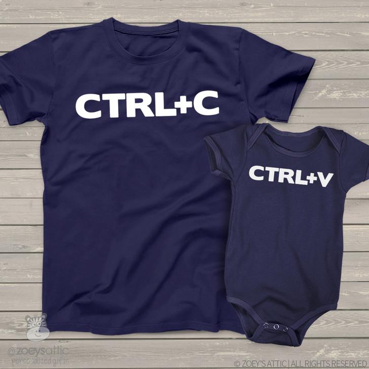 ctrl c and ctrl v copy paste matching dad and kiddo t-shirt or bodysuit custom gift set  DARK