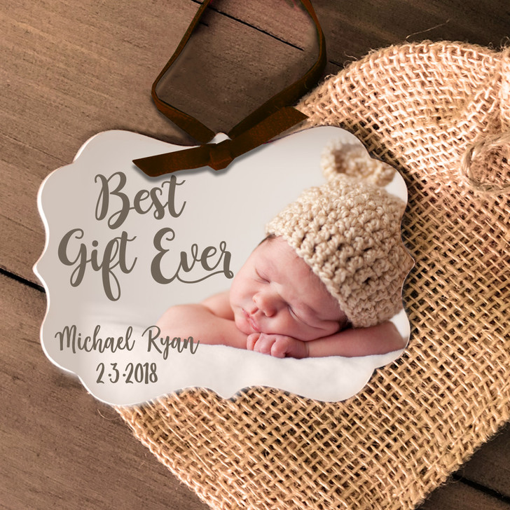 Baby's First Christmas best present ever photo metal ornament