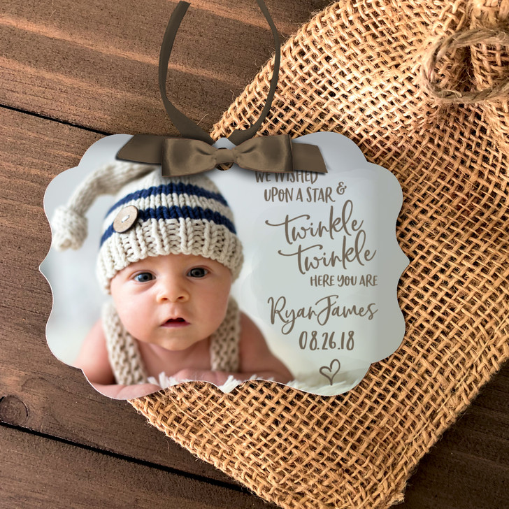 Baby's First Christmas wished upon a star photo metal ornament