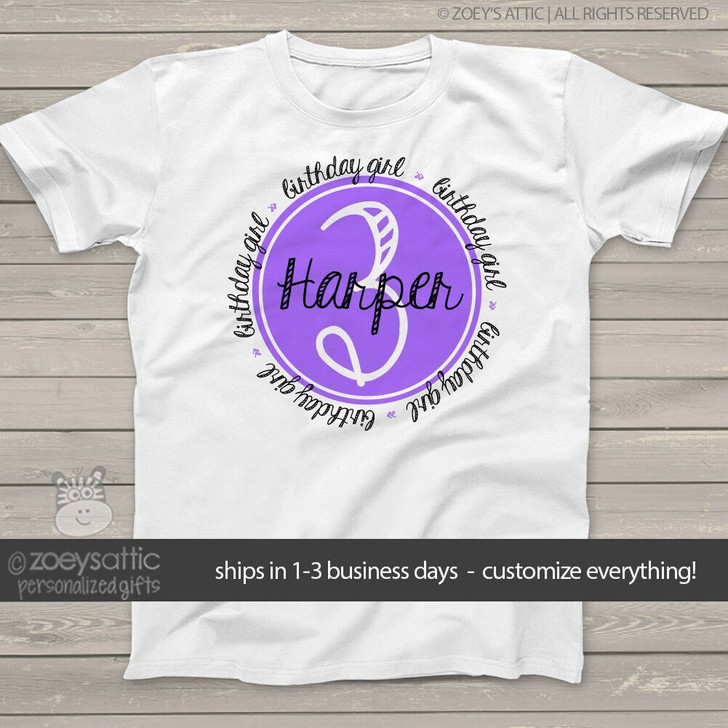 Birthday shirt girl any age circle filled number personalized  Tshirt