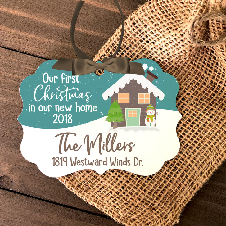 First Christmas new home personalized metal ornament