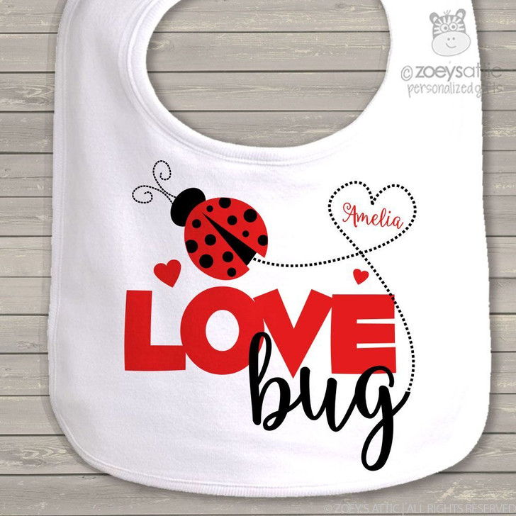 Love bug personalized baby bib