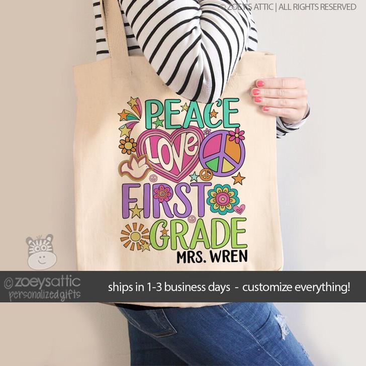 Teacher peace love any grade colorful tote bag