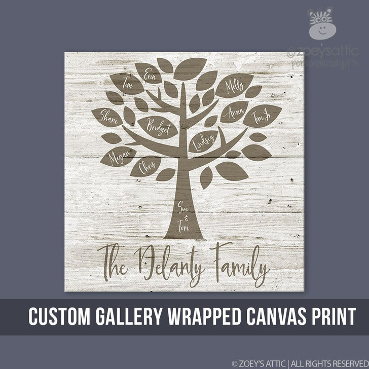 Personalized Wall Art Family Tree Gallery Wrapped Wood Frame Canvas