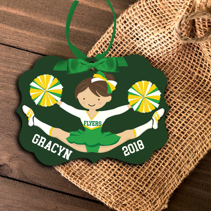Girl cheerleader personalized metal or wood Christmas ornament