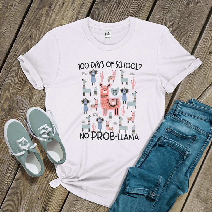 Teacher 100 days no prob-llama Tshirt