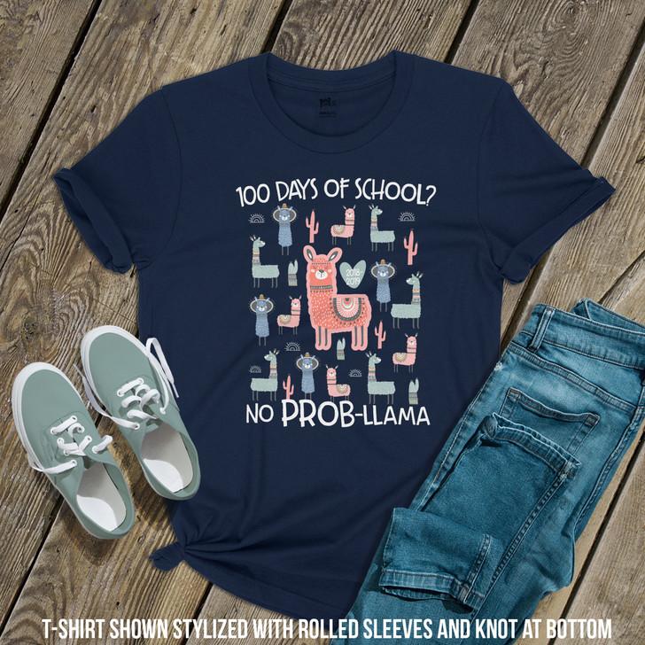 Teacher 100 days no prob-llama DARK Tshirt