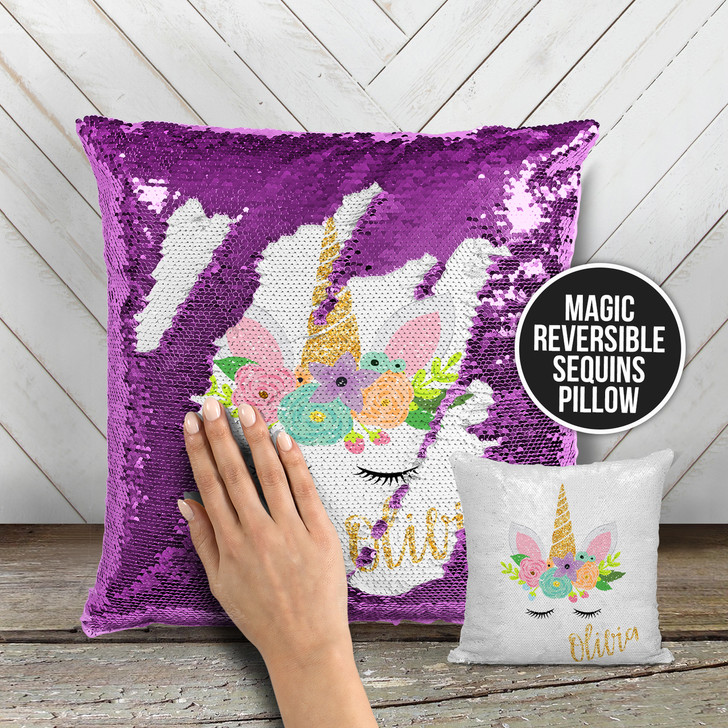 Unicorn face faux glitter personalized decorative sequin pillowcase pillow